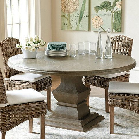 """Serrato Pedestal Dining Tables For Widely Used Andrews Pedestal Dining Table – 48"""" In Distressed Graywash (View 20 of 25)"""