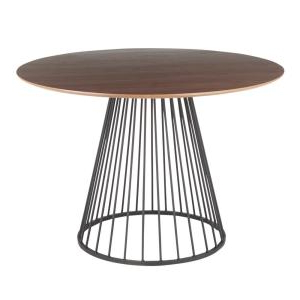 Servin 43'' Pedestal Dining Tables Pertaining To Newest Lumisource Canary Walnut And Black Round Dining Table Dt (View 25 of 25)