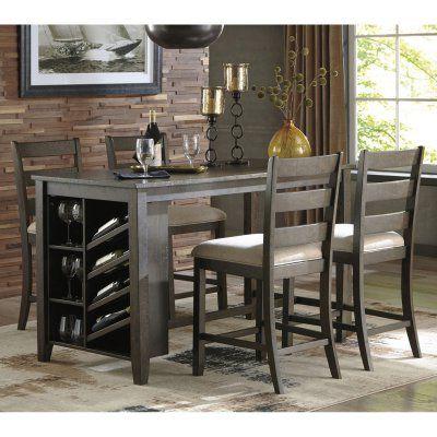 Signature Designashley Rokane 5 Piece Counter Height Pertaining To Preferred Bushrah Counter Height Pedestal Dining Tables (View 8 of 25)