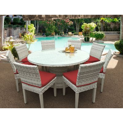 Sol 72 Outdoor Falmouth 9 Piece Dining Set With Cushions Inside Well Liked Steven 39'' Dining Tables (View 21 of 25)