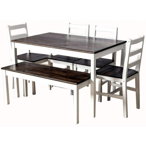 Solid Pine Wood Dining Set Medium Table With 4 Chairs In Trendy Reagan Pine Solid Wood Dining Tables (View 19 of 25)