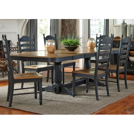 Springfield Ii 7 Piece Dining Set With Double Pedestal Inside Well Known 28'' Pedestal Dining Tables (View 22 of 25)