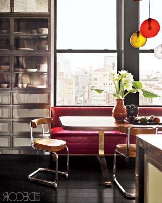 Steven 39'' Dining Tables Intended For Famous Velvet Banquette, Industrial Cabinet, And Vintage Chairs (View 18 of 25)