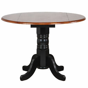 Sunset Trading Black Cherry Round Drop Leaf Dining Table Pertaining To Most Up To Date Adams Drop Leaf Trestle Dining Tables (View 9 of 25)