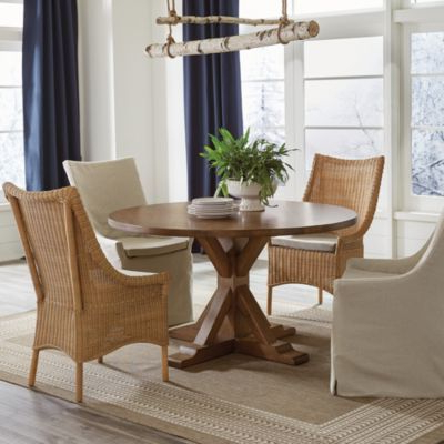 Suzanne Kasler Palisades Round Pedestal Dining Table With Preferred Sevinc Pedestal Dining Tables (View 14 of 25)
