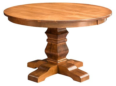 Trendy Amish Round Pedestal Dining Table Solid Wood Rustic Within Corvena 48'' Pedestal Dining Tables (View 8 of 25)