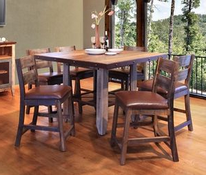 Trendy Antique Multicolor Counter Height 52 Inch Dining Table Throughout Overstreet Bar Height Dining Tables (View 6 of 25)
