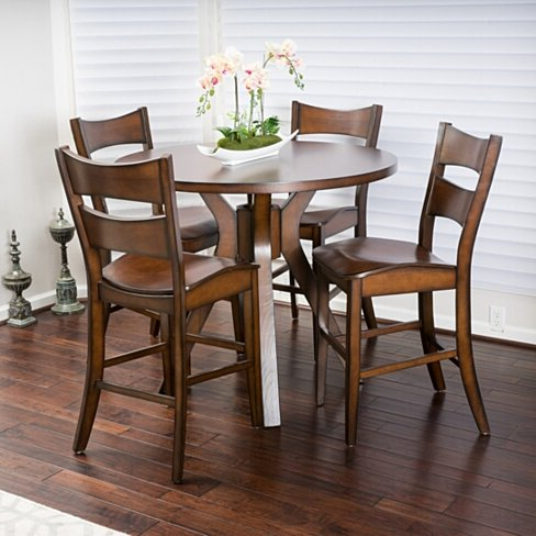 Trendy Buy Fulton 5 Piece Round Counter Height Wood Dining Set With Regard To Counter Height Dining Tables (View 22 of 25)