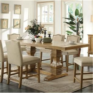 Trendy Charterville Counter Height Pedestal Dining Tables Within Parkins Counter Height Table With Shaped Trestle Base (View 16 of 25)