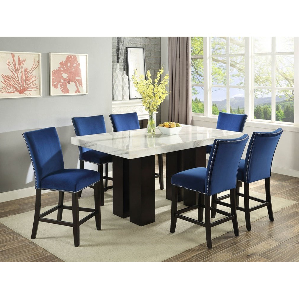 Trendy Desloge Counter Height Trestle Dining Tables Within Steve Silver Camila Rectangular White Marble Counter (View 18 of 25)
