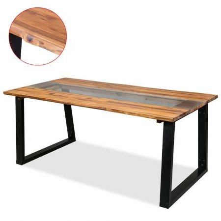 Trendy Folcroft Acacia Solid Wood Dining Tables Within Dining Table Solid Acacia Wood And Glass 180x90x75 Cm (View 2 of 25)