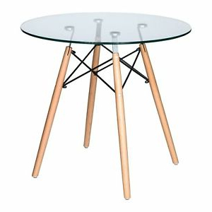 Trendy Mode Round Breakroom Tables For Leisuremod Dover Round Bistro Glass Top Dining Table Wood (View 16 of 25)
