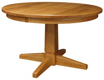 Trendy Peacham Pedestal Extension Table Throughout Gaspard Extendable Maple Solid Wood Pedestal Dining Tables (View 3 of 25)