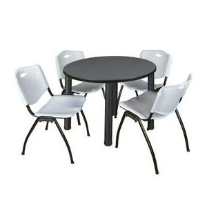 """Trendy Round Breakroom Tables And Chair Set Regarding Kee 42"""" Round Breakroom Table Grey/ Black & 4 'm' Stack (View 19 of 25)"""
