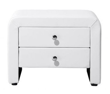 """Trendy Table De Chevet Simili Cuir Blanc 2 Tiroirs Kaline Pertaining To Mode 72"""" L Breakroom Tables (View 18 of 25)"""