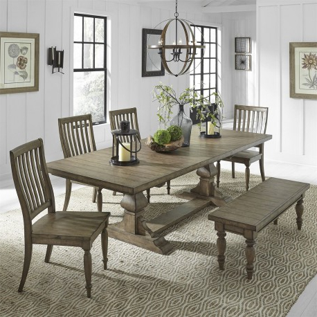 Trestle Dining Tables For Fashionable Harvest Home 6 Piece Trestle Table Set (View 24 of 25)