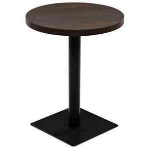 """Vidaxl Bistro Table Mdf And Steel Round 23.6""""x29.5"""" Dark In Most Up To Date Grimaldo (View 15 of 25)"""