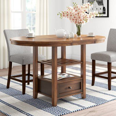 Villani Drop Leaf Rubberwood Solid Wood Pedestal Dining Tables Throughout 2020 Three Posts Brierfield Counter Height Extendable Dining (View 16 of 25)