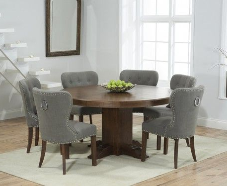 Villani Pedestal Dining Tables Regarding Most Recently Released Torino 150cm Dark Solid Oak Round Pedestal Dining Table (View 11 of 25)