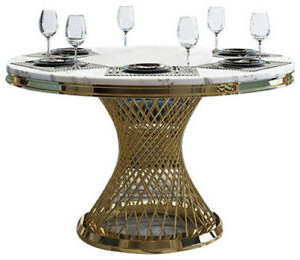 """Villani Pedestal Dining Tables Throughout Best And Newest Homary 51"""" Round Pedestal Dining Table With Faux Marble (View 19 of 25)"""