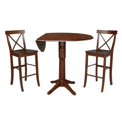 """Well Known 42"""" Lana Round Pedestal Bar Height Table With Two Stools With Bushrah Counter Height Pedestal Dining Tables (View 21 of 25)"""