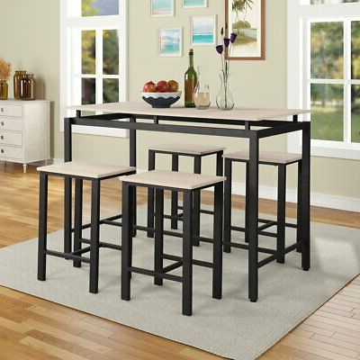 Well Known 5 Piece Counter Height Dining Table Set 4 Stools Wood For Eduarte Counter Height Dining Tables (View 6 of 25)
