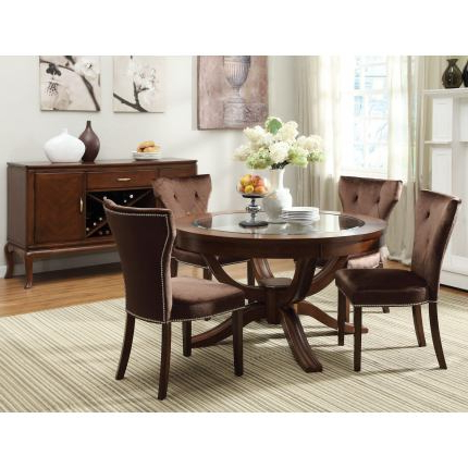 Well Known Acme Kingston 5 Pc Glass Top Round Pedestal Dining Table Regarding Barra Bar Height Pedestal Dining Tables (View 22 of 25)
