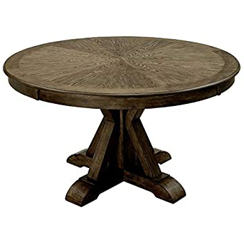 Well Known Amazon – Furniture Of America Kora Transitional Round With Minerva 36'' Pine Solid Wood Trestle Dining Tables (View 15 of 25)