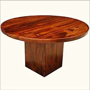 Well Known Amazon – Solid Wood Square Pedestal 52 Inches Dark Inside Serrato Pedestal Dining Tables (View 25 of 25)