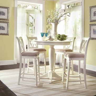 Well Known American Drew Camden Light 5 Piece Bar Height Ped Dining Inside Nakano Counter Height Pedestal Dining Tables (View 21 of 25)