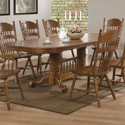 Well Known Coaster Brooks Oak Finish Round/oval Dining Table With In Nashville 40'' Pedestal Dining Tables (View 16 of 25)