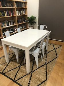 Well Known Eleni 35'' Dining Tables For Ikea Extendable Dining Table And 5 Metal Dining Chairs (View 12 of 25)