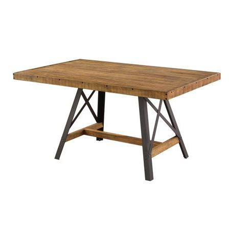 Well Known Emerald Home Chandler Rustic Brown And Antique Black Metal Throughout Rhiannon Poplar Solid Wood Dining Tables (View 24 of 25)