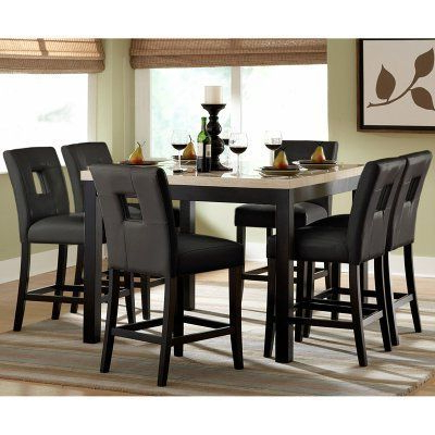 Well Known Larkin 47.5'' Pedestal Dining Tables Within Archstone 7 Pc. Black Counter Height Set – 47.5 In (View 7 of 25)