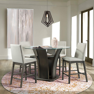 Well Known Mciver Counter Height Dining Tables Pertaining To Simms 5pc Round Counter Height Dining Set Table & Four (View 19 of 25)