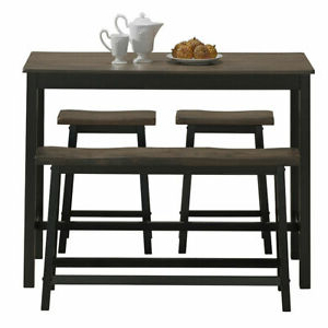 Well Known Midtown Solid Wood Breakroom Tables Within 4 Pcs Dining Room Table Set Solid Wood Simple Style (View 9 of 25)