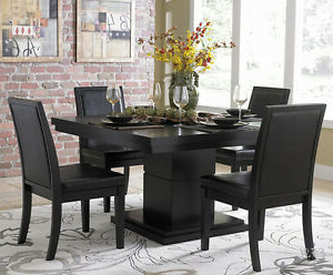 Well Known New 5pc Cicero Modern Black Finish Wood Square Dining Within Gunesh (View 25 of 25)