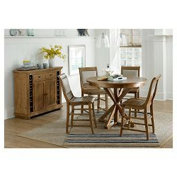 Well Known Villani Drop Leaf Rubberwood Solid Wood Pedestal Dining Tables With Willow Pine Round Counter Dining Table – Distressed Pine (View 14 of 25)