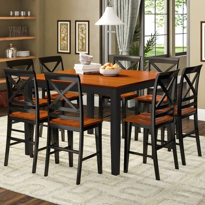 Well Known Wes Counter Height Rubberwood Solid Wood Dining Tables Within 9 Piece Counter Height Kitchen & Dining Room Sets You'll (View 10 of 25)
