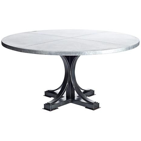 """Well Known Winston Hammered Zinc 60"""" Round Dining Table (View 7 of 25)"""