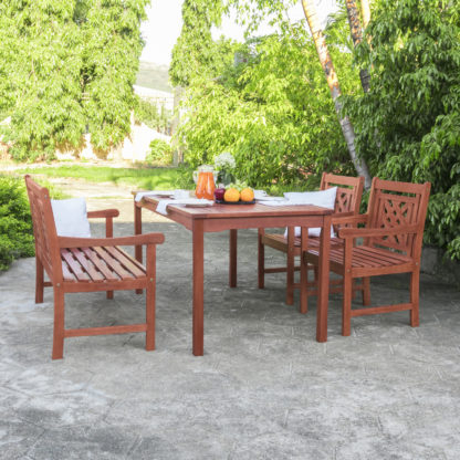 """Well Liked Elite Rectangle 48"""" L X 24"""" W Tables Intended For Natural Wood – Malibu Outdoor 4 Piece Wood Patio (View 13 of 25)"""