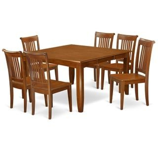 Wes Counter Height Rubberwood Solid Wood Dining Tables Inside Famous Pfpo7 Sbr 7 Pc Dining Set Square Table And 6 Dining Chairs (View 18 of 25)