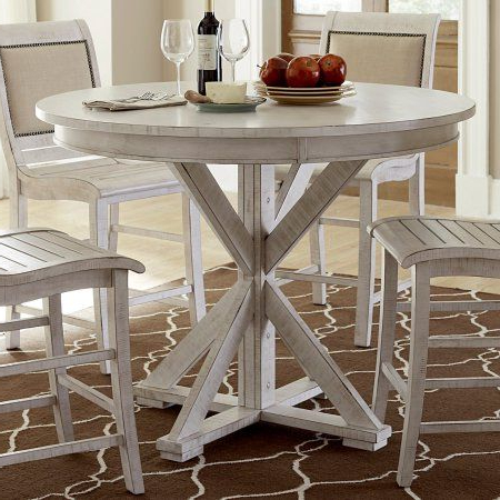 """Wes Counter Height Rubberwood Solid Wood Dining Tables With Regard To Latest Progressive Willow 48"""" Round Counter Height Dining Table (View 14 of 25)"""