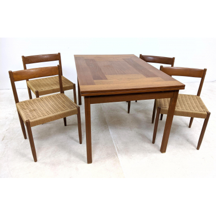 Widely Used 200204 278 5pc Danish Modern Teak Dining Set.table & 4 Inside Naz (View 7 of 25)