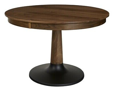 Widely Used Amish Mid Century Modern Round Pedestal Dining Table Solid Intended For Corvena 48'' Pedestal Dining Tables (View 17 of 25)