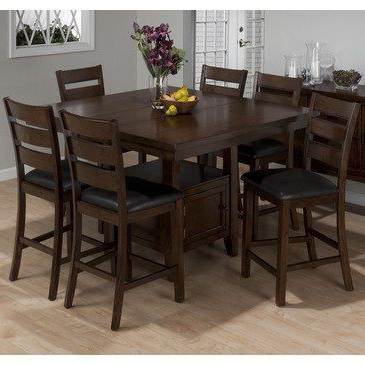 Widely Used Jofran 337 54 Taylor 7 Piece Butterfly Leaf Counter Height With Regard To Liesel Bar Height Pedestal Dining Tables (View 11 of 25)