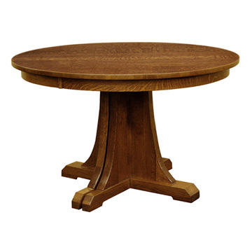 """Widely Used Mission 48"""" Round Pedestal Dining Table W/ Leaves Within 28'' Pedestal Dining Tables (View 5 of 25)"""