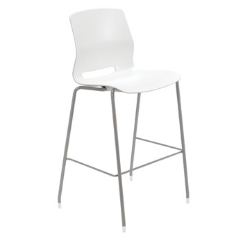 Widely Used Mode Breakroom Tables Pertaining To Silver Base Bar Height Cafe Table With Six Lola Stools (View 3 of 25)