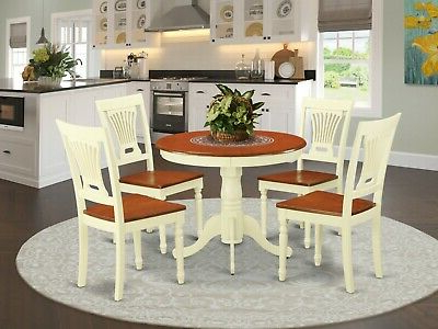 """Widely Used Pevensey 36'' Dining Tables Pertaining To 5pc Kitchen Dinette 36"""" Round Pedestal Table + 4 Wood (View 19 of 25)"""