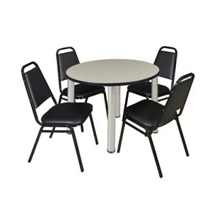 """Widely Used Round Breakroom Tables And Chair Set Regarding Kee 42"""" Round Breakroom Table Maple/ Chrome & (View 16 of 25)"""